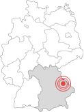 Deutschlandkarte - Lage Stadt Cham