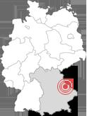 Deutschlandkarte - Lage Stadt Cham